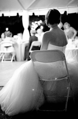 A poem by Tricia McCallum 2020. A bride sitting on a chair alone at her wedding.